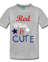 Red , White , & CUTE Kids Graphic Tee - heather gray