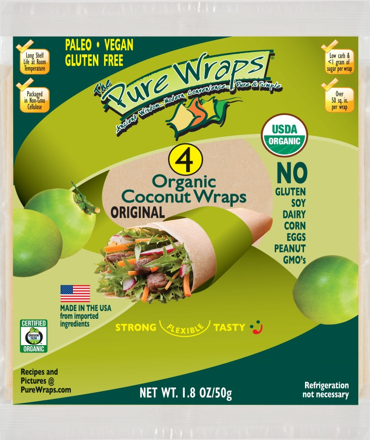 ORGANIC Original MADE IN USA [4-count] Coconut Wraps