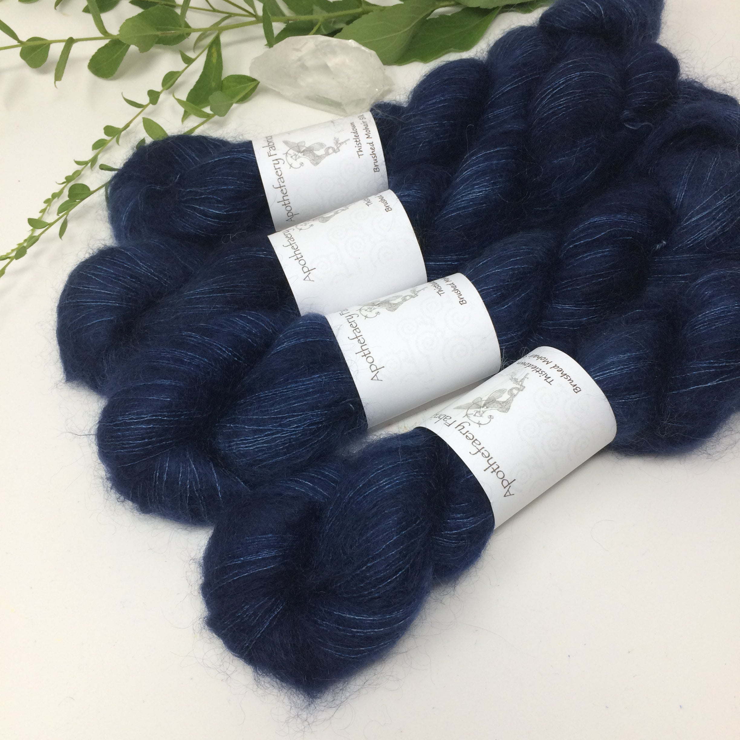 Navy blue - thistledown - brushed mohair and silk laceweight