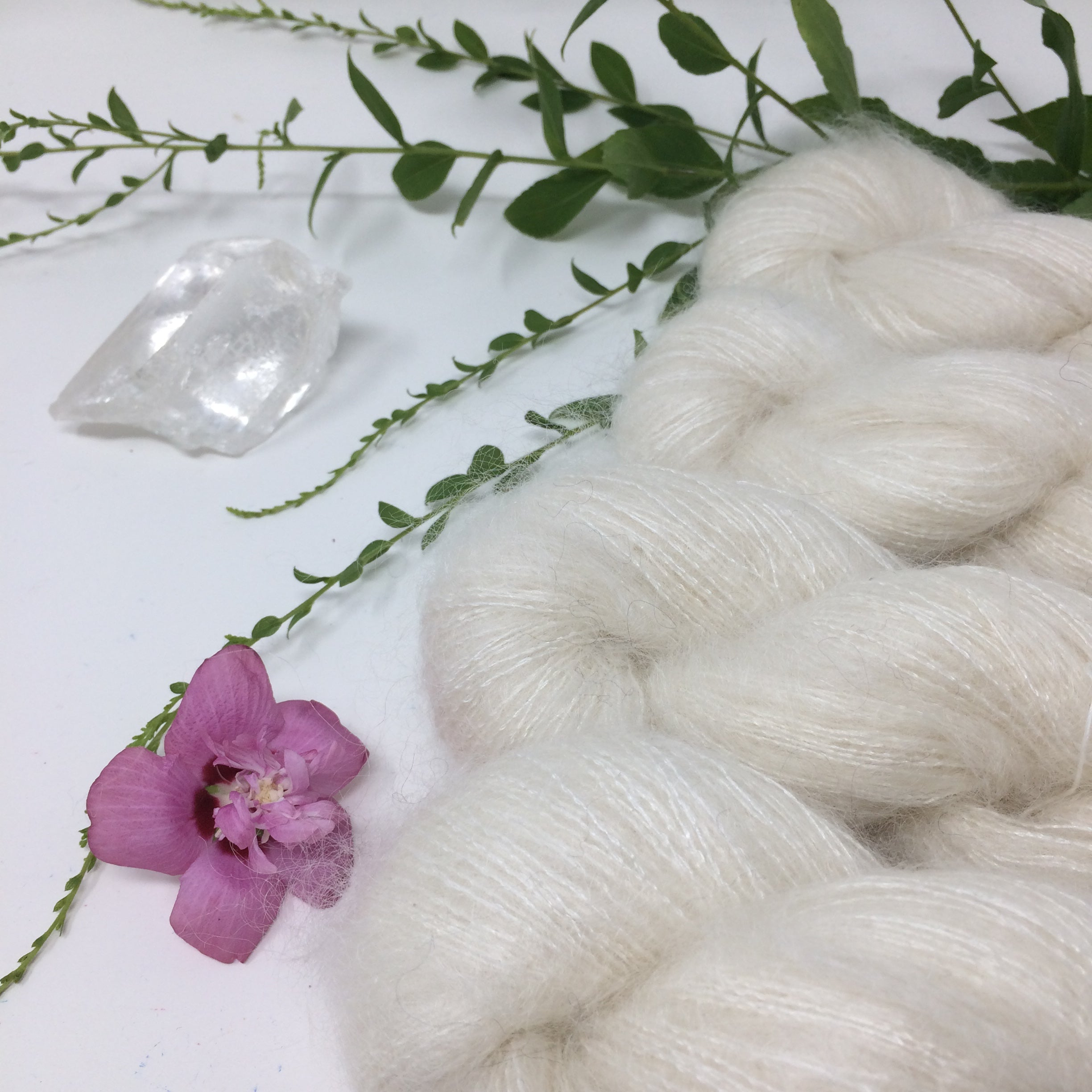 Snowdrift - thistledown - brushed mohair and silk laceweight