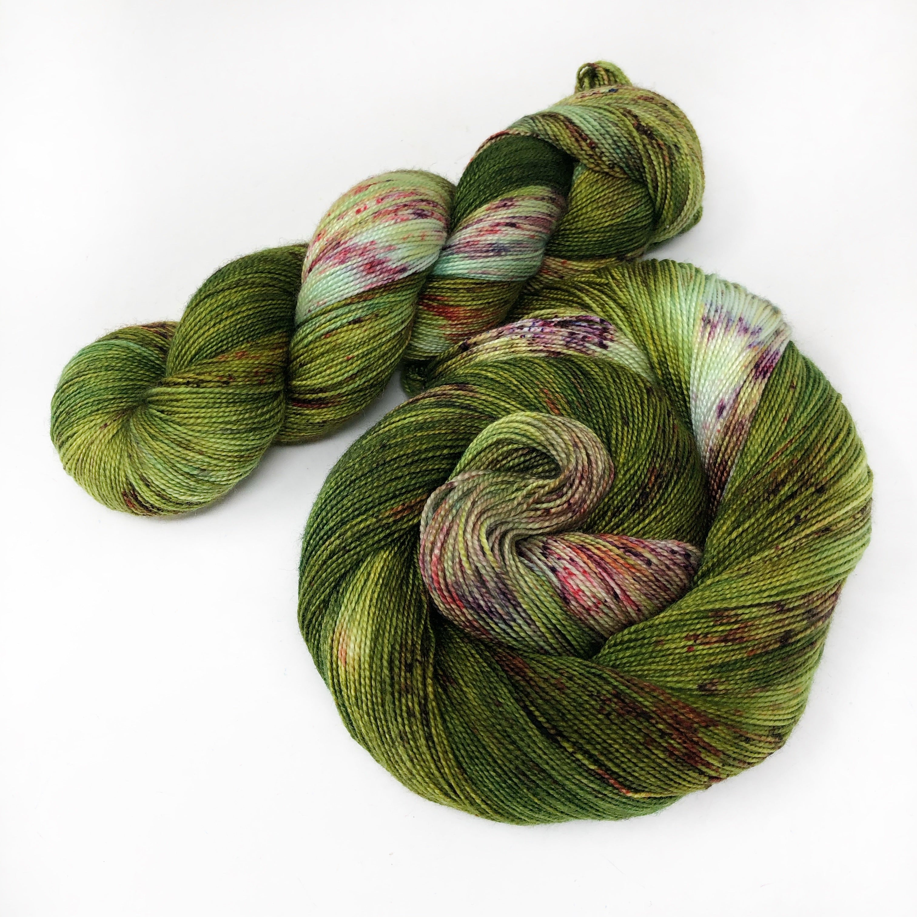 Raspberry Canes - Shawl length skein - 600 yards