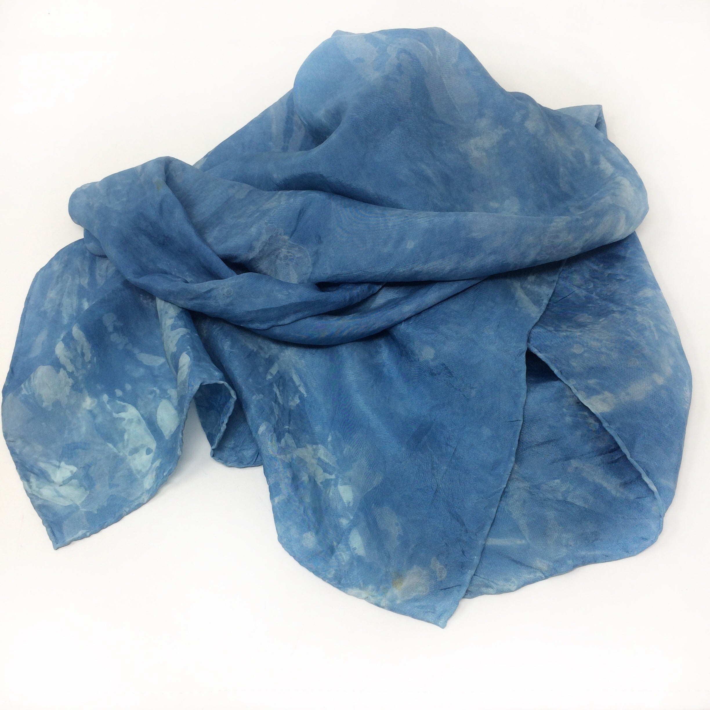 Habotai Silk Scarf - Indigo dyed using our own plants