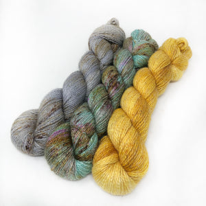 Three Color Set - 819 yards - Alpaca Linen Silk DK weight 2 Ply