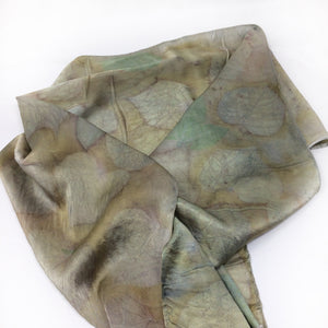 Silk Charmeuse Scarf - Eco printed - plant dyed