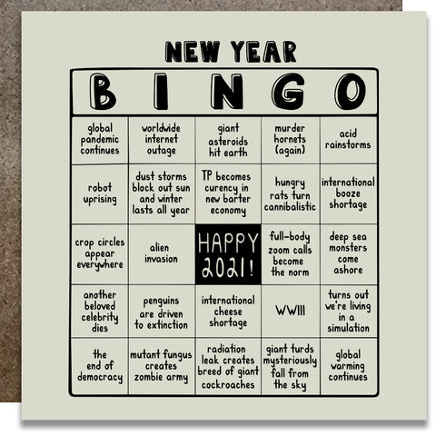 2021 New Year Bingo Letterpress Card