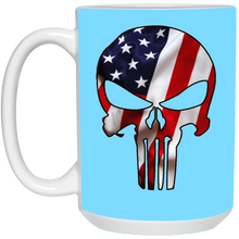 Load image into Gallery viewer, Teal American Flag Skull Ceramic Mug