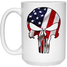 Load image into Gallery viewer, White American Flag Skull Ceramic Mug