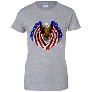 Grey American Flag Eagle Wings T-shirt