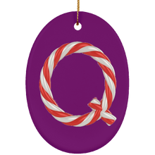 Load image into Gallery viewer, Qanon Candy Cane Q Ceramic Christmas Ornament