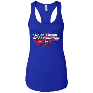 Royal Blue Trump - No Collusion No Obstruction No Sh*t MAGA Tank Top