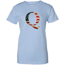 Load image into Gallery viewer, Light Blue Q American Flag Qanon/Q T-shirt