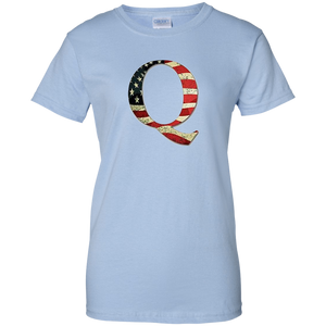 Light Blue Q American Flag Qanon/Q T-shirt