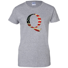 Load image into Gallery viewer, Grey Q American Flag Qanon/Q T-shirt