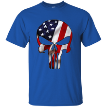 Load image into Gallery viewer, Royal Blue American Flag Skull T-shirt