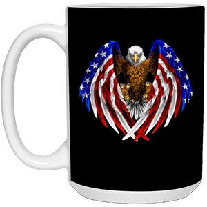 Black American Flag Eagle Wings Mug