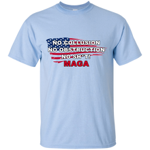 Load image into Gallery viewer, Light Blue Trump - No Collusion No Obstruction No Sh*t MAGA T-shirt