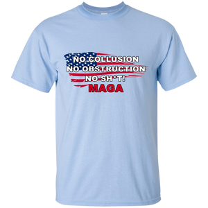 Light Blue Trump - No Collusion No Obstruction No Sh*t MAGA T-shirt