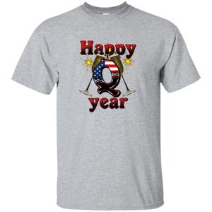 Grey Happy Q Year Q/Qanon T-Shirt