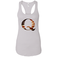 Load image into Gallery viewer, Qanon American Flag Q Women's Racerback Tank