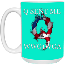 Load image into Gallery viewer, Teal Q Sent Me WWG1WGA Q/Qanon Ceramic Mug