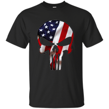 Load image into Gallery viewer, Black American Flag Skull T-shirt