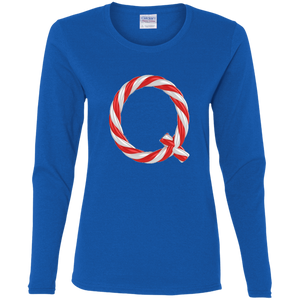 Qanon Candy Cane Q Women's Long Sleeve Shirt