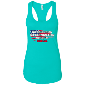 Teal Trump - No Collusion No Obstruction No Sh*t MAGA Mug Tank Top