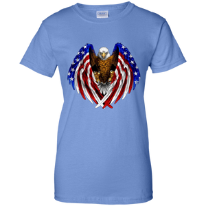 Blue American Flag Eagle Wings T-shirt