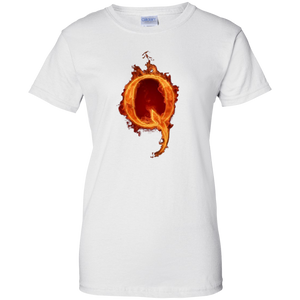 White Qanon Q On Fire T-shirt