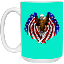 Load image into Gallery viewer, Teal American Flag Eagle Wings Mug