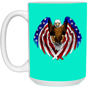 Teal American Flag Eagle Wings Mug