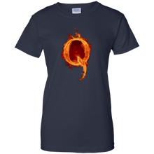 Load image into Gallery viewer, Navy Blue Qanon Q On Fire T-shirt
