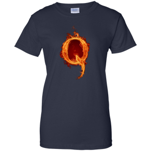 Navy Blue Qanon Q On Fire T-shirt