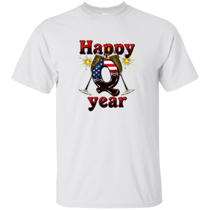 White Happy Q Year Q/Qanon T-Shirt