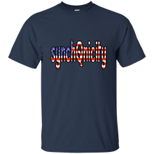 Load image into Gallery viewer, Navy Blue synchQnicity American Flag Q/Qanon T-shirt