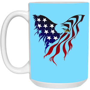 Light Blue Amercian Flag Eagle Mug