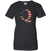 Load image into Gallery viewer, Black Q American Flag Qanon/Q T-shirt