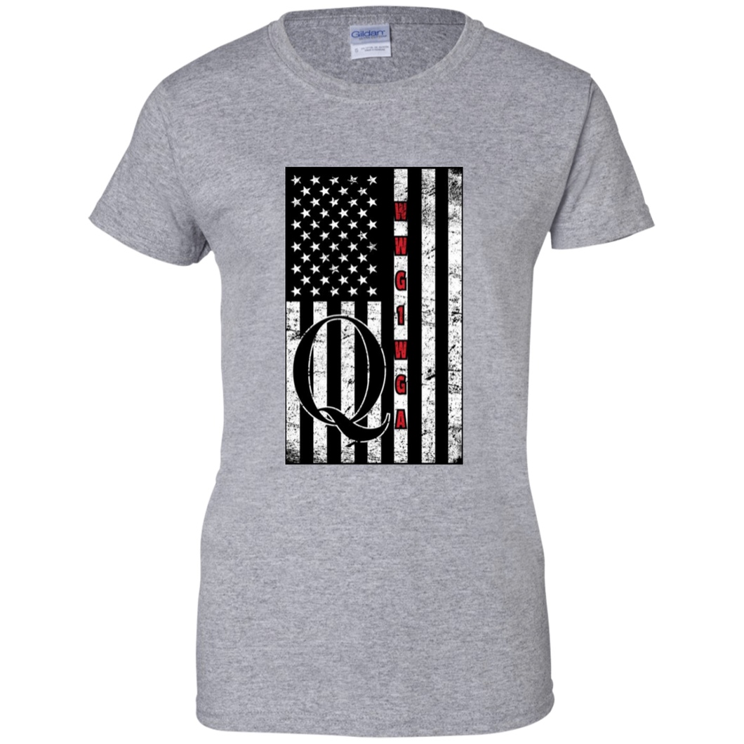 Grey Qanon WWG1WGA Flag Women's T-shirt