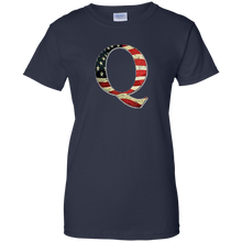 Load image into Gallery viewer, Navy Q American Flag Qanon/Q T-shirt
