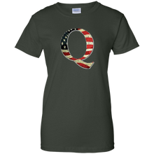 Load image into Gallery viewer, Forest Green Q American Flag Qanon/Q T-shirt