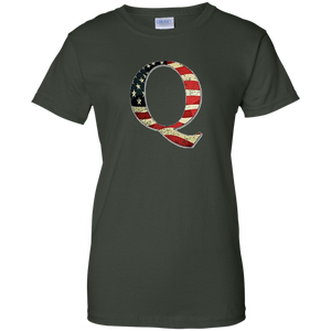 Forest Green Q American Flag Qanon/Q T-shirt