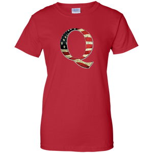 Red Q American Flag Qanon/Q T-shirt