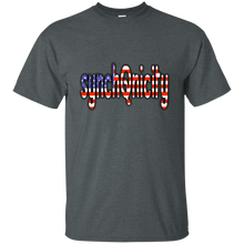 Load image into Gallery viewer, Charcoal Grey synchQnicity American Flag Q/Qanon T-shirt