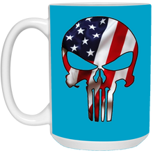 Load image into Gallery viewer, Blue American Flag Skull Ceramic Mug
