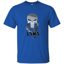 Load image into Gallery viewer, Royal Blue Qanon Punisher Skull T-shirt