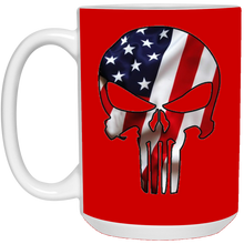 Load image into Gallery viewer, Red American Flag Skull Ceramic Mug