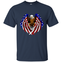 Load image into Gallery viewer, Navy Blue American Flag Eagle Wings T-shirt