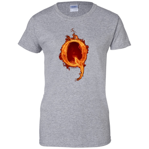 Grey Qanon Q On Fire T-shirt