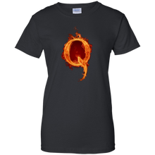 Load image into Gallery viewer, Black Qanon Q On Fire T-shirt
