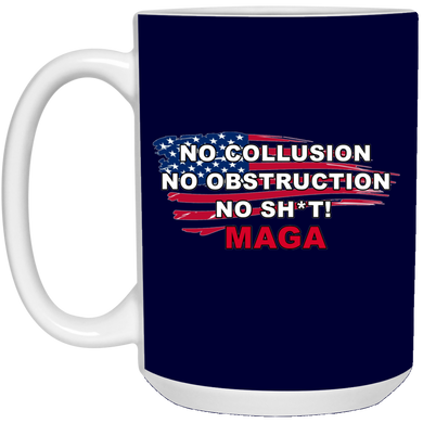 Navy Blue Trump - No Collusion No Obstruction No Sh*t MAGA Mug